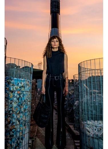 Silk and Cashmere More Edelina Modal Ve Pamuklu Yüksek Yaka Kolsuz Triko Siyah